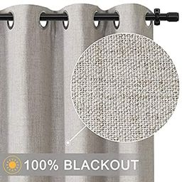 Rose Home Fashion 100% Blackout Curtains for Bedroom Linen Textured Look Drapes with Blackout Lin... | Amazon (US)