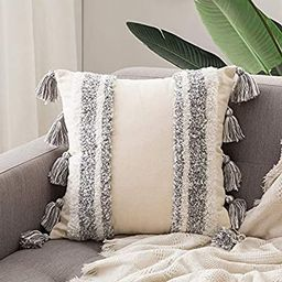 MIULEE Decorative Throw Pillow Cover Tribal Boho Woven Tufted Pillowcase with Tassels Super Soft ... | Amazon (US)