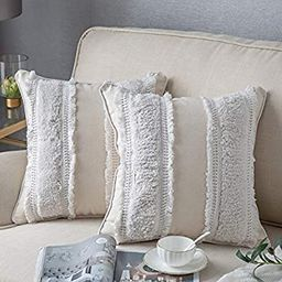 DEZENE Boho Throw Pillow Covers: 2 Pack 100% Cotton Woven Tufted Decorative Square Pillowcases fo... | Amazon (US)