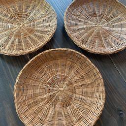 Set of Three Boho Wall Baskets  Vintage Wicker Rattan  Flat   Etsy   Etsy (US)