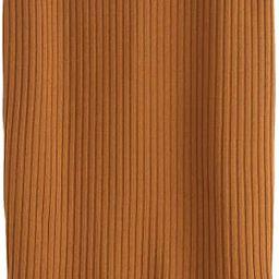 SheIn Women's Basic Plain Stretchy Ribbed Knit Split Full Length Skirt | Amazon (US)