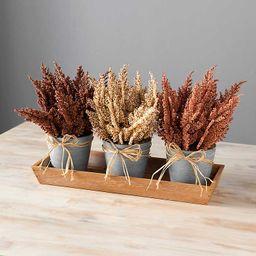 Wheat and Raffia Wooden Tray Floral Arrangement   Kirkland's Home
