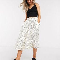 Monki Sigrid dot print midi skirt in white | ASOS (Global)