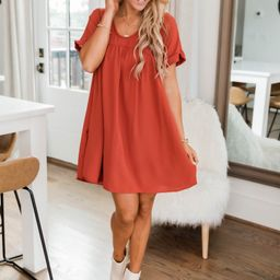Connect To Your Heart Rust Dress   The Pink Lily Boutique
