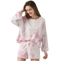 Ever-Pretty Women's Henly Neck Long Sleeve Short Activewear Lounge Set Tie Dye Printed Soft Top a...   Walmart (US)