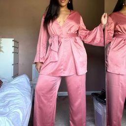 ASOS DESIGN Curve soft satin suit wide leg pants | ASOS (Global)