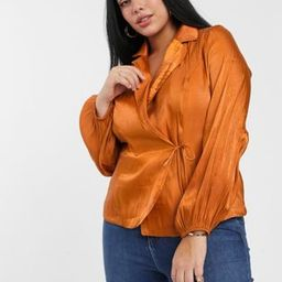 Glamorous Curve tailored blouse with tie front in luxe satin | ASOS (Global)
