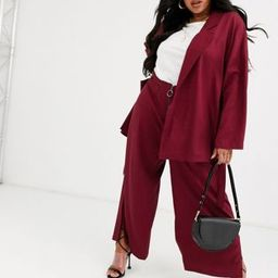 Native Youth Plus wide leg pants with ring pull in satin two-piece | ASOS (Global)
