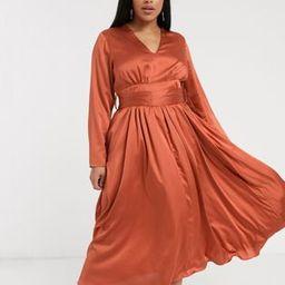 Glamorous Curve plunge front midi tea dress in satin | ASOS (Global)
