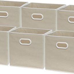 6 Pack - SimpleHouseware Foldable Cube Storage Bin with Handle, Beige   Amazon (US)