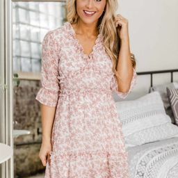 Cherish You Forever Cream Floral Dress   The Pink Lily Boutique