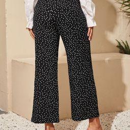Polka Dot Tie Front Wide Leg Pants | SHEIN
