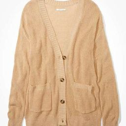 AE Oversized Side Slit Button Up Cardigan | American Eagle Outfitters (US & CA)