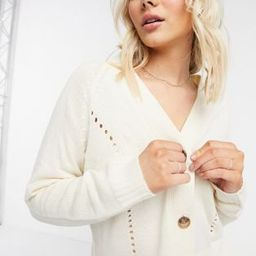 JDY knitted cardigan with stitch detail in cream | ASOS (Global)