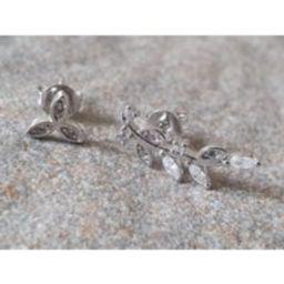 Silver ear cuff earrings. Crystal climber earring and stud. Sterling silver ear cuff and stud. | Etsy (US)