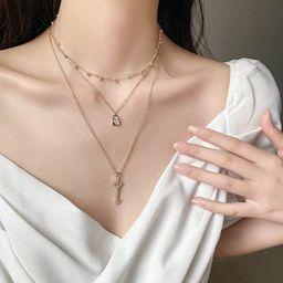 Set of 3: Rhinestone Key / Lock Pendant Necklace / Choker Set of 3 - Necklace - Gold - One Size | YesStyle Global