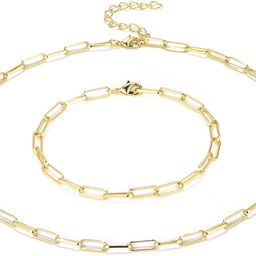 14K Gold Plated Dainty Paperclip Link Chain Necklace for Women Girls | Amazon (US)