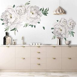Amazon.com: Murwall White Peony Wall Stickers Floral Decals for Bethroom Kitchen: Handmade | Amazon (US)