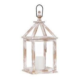 Whitewashed Wooden Lantern with Glass Hurricane   Kirkland's Home