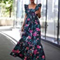 The Drop Women's Black Floral Print Ruffle Shoulder Maxi Dress by @signedblake, 3X, Plus Size   Amazon (US)