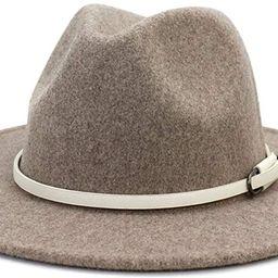 Lisianthus Women Belt Buckle Wool Wide Brim Fedora Hat   Amazon (US)