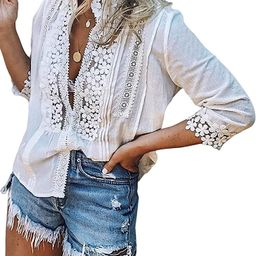 FARYSAYS Women's Lace Crochet V Neck Bell Sleeve Button Down Shirts Casual Loose Blouses Tops | Amazon (US)