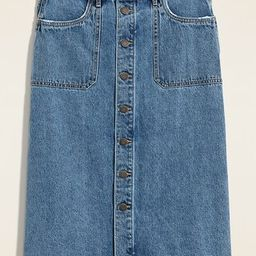 Mid-Rise Button-Front Midi Jean Skirt for Women   Old Navy (US)