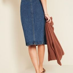 High-Waisted Button-Front Midi Jean Skirt for Women   Old Navy (US)