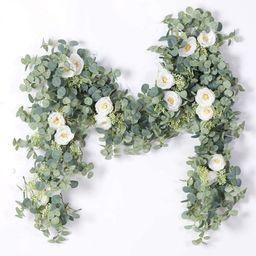 Willstar 1/2PCS 2 Colors 1.8M Artificial Eucalyptus Garland with Champagne Roses Greenery Garland Eu   Walmart (US)
