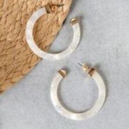Mother Of Pearl Effect Hoop Earrings | SHEIN