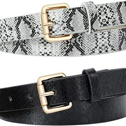 JASGOOD Women Snakeskin Print for Pants Dress Fashion PU Leather Belt with Gold Color Buckle | Amazon (US)