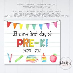 First Day Of PreK Sign, First Day Of School Sign, Instant Download, Back To School, First Day Of ... | Etsy ROW