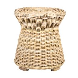 Round Natural Woven Rattan Portola Accent Table by World Market | World Market