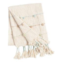 Cool Tassel Aria Throw Blanket: Green - Cotton by World Market | World Market