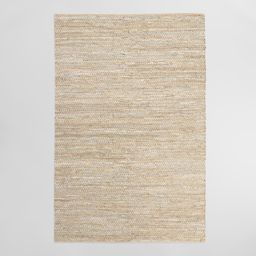 Metallic Gold and Ivory Leather and Jute Woven Area Rug - 3' x 5' by World Market | World Market