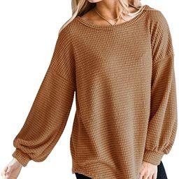 MEROKEETY Womens Long Balloon Sleeve Waffle Knit Tops Crew Neck Oversized Sweater Pullover   Amazon (US)