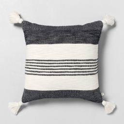 """18"""" x 18"""" Center Stripes Tassel Throw Pillow Railroad Gray - Hearth & Hand™ with Magnolia 