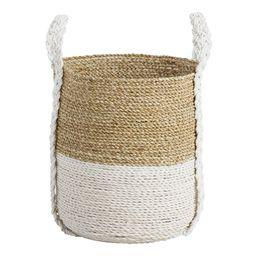 Medium Two Tone Seagrass Bianca Tote Basket: White - Natural Fiber by World Market | World Market