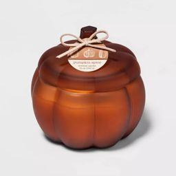 12oz Lidded Frosted Glass Pumpkin Jar 2-Wick Pumpkin Spice Candle - Threshold™ | Target