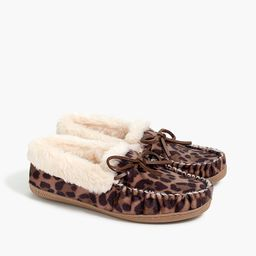 Leopard calf hair moccasin slippers | J.Crew Factory