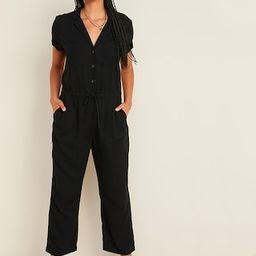 Waist-Defined Button-Front Utility Jumpsuit for Women   Old Navy (US)