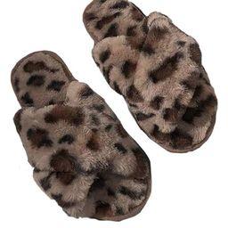 'Jennifer' Leopard Print Criss Cross Faux Fur Slippers (4 Colors)   Goodnight Macaroon