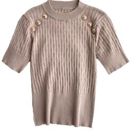 'Teresa' Crewneck Buttons Short Sleeves Cable Knit Top (5 Colors) | Goodnight Macaroon