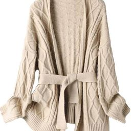 'Cola' Cable Knit Belted Open Cardigan (2 Colors) | Goodnight Macaroon