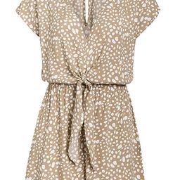 'Willow' Beige Dotted Print Front Tie Romper | Goodnight Macaroon
