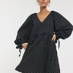 ASOS DESIGN smock mini dress with pleat shoulder detail in mono polka dot  | ASOS | ASOS (Global)