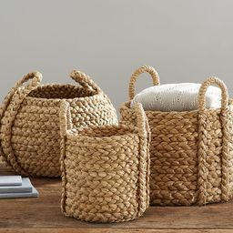 Beachcomber Handwoven Seagrass Round Handled Baskets   Pottery Barn (US)