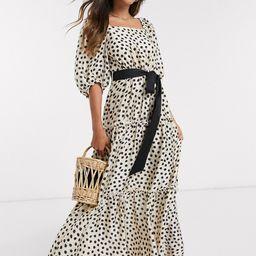 Mango tiered volume sleeve maxi dress in polka dot-White   ASOS (Global)