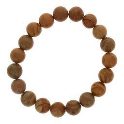 Maya's Gems Women's Bracelets Brown - Fossilized Wood Beaded Stretch Bracelet   Zulily