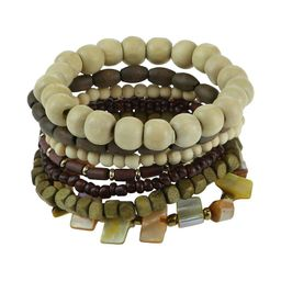 SO Wooden Beaded Stretch Bracelet Set, Women's, Brown   Kohl's
